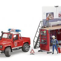 Bruder brandweer speelset met kazerne en Land Rover